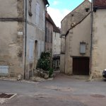 Walking up to the restaurant in Flavigny