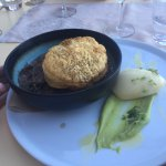 Champagne Pearl Oysters and Crab soufflé divine. Deconstructed lamb pie an excellent addition to