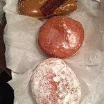 big doughnuts. bacon, raspberry and Lemon