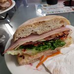 Ham & salad on a focaccia roll