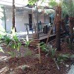 Garden courtyard including a smoking area