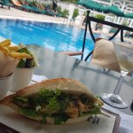 Banh Mi next to pool