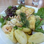 My seafood dish, sea bass with shrimp and scallops