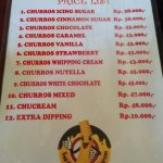 Churros Menu