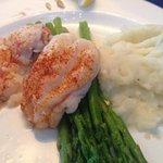 Twin Tails with mashed potato and asparagus.