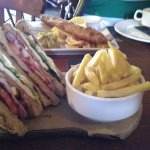 Fish and chips, club sandwich