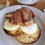 Fantastic breakfast, Margaret River Free Range Bacon, Eggs & Chicken Sausages on sourdough toast