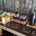 Hot drinks at the breakfast buffet