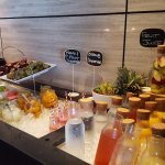 Juices, fruit and smoothies at the breakfast buffet