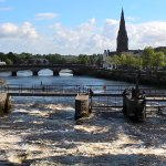 Hotel fronts on to River Moy and bridge to cathedral