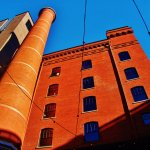 Distinctive column in the brewery block