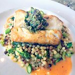 The halibut, nicely cooked, with an odd pesto topping. Not as well received as the other dishes