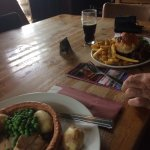 Turkey in Yorkshire and steak and ale pie