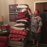 If you like throw pillows, there are plenty to throw here!