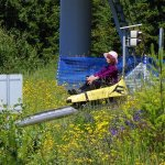 Oldest rider (so far!!) down the pipe mountain coaster. She's 96!!