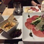 Hummus and Beef Carpaccio from the tapas menu. Yum!