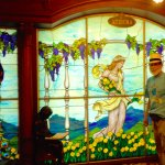 Stained glass panel in the lobby.