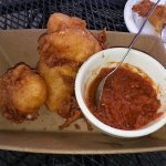 Fried mozzarella wedges and marinara sauce (half gone already!)