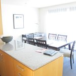 The dining area and kitchen counter
