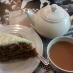 Homemade Carrot Cake and a pot of tea