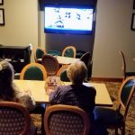 Big screen TV in outer breakfast room for hockey watching.