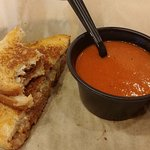 Brisket Sandwich and Tomato Soup