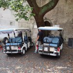 The golf carts outside the Rome Wall.