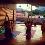 Sunset Yoga Classes at our Yoga Deck overvewing Arenal Volcano