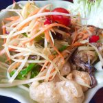 Very Hot Papaya salad with salted baby crabs.