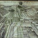 Engraving of the original Dutch-style formal gardens