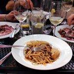 Spaghetti Bolongese with great garlic bread!