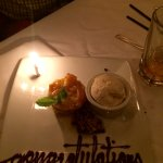 a beautifully presented dessert for our dinner celebration