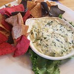 Cowboy Steakhouse burger and Spinach and artichoke dip
