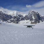 A sister aircraft landing on the Ruth Glacier. On a beautiful day, you can see the peak of Denal