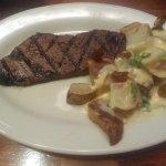 Steak and cheesy potatoes