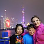 Sunny with my kid and wife during the Huangpu River cruise