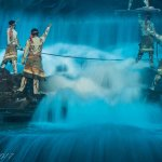 A high point in the show- the gushing of water depicting floods and devastation