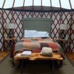 Queen bed in Yurt 11
