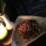 Grilled pork belly with mango salsa