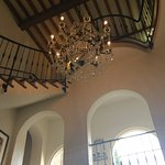 The central stair area and chandelier