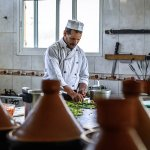 Our chef preparing fresh ingredients for lunchtime tagines