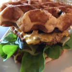 Big Momma's fried chicken and waffle burger, mac and cheese balls, apple pie/salted caramel shak