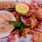 Best of 3 Worlds Shrimp Platter - Steamed royal red, fried Gulf white, broiled crabmeat stuffed.