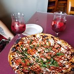 The Michelangelo pizza with the Triple Berry Sangria