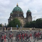 Our bikes and a view of the Berlin Cathedral.