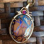 Australian Bolder Opal with Rubelite set in 14kt Gold!
