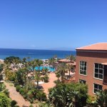 View from our balcony- pool and sea view!
