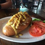 Crab and shrimp sandwich topped with fries. $14.