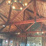 Love the ceiling, rafters and chandeliers.