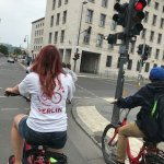 Our awesome Fat Tire tour guide leading the way to the Berlin Wall site